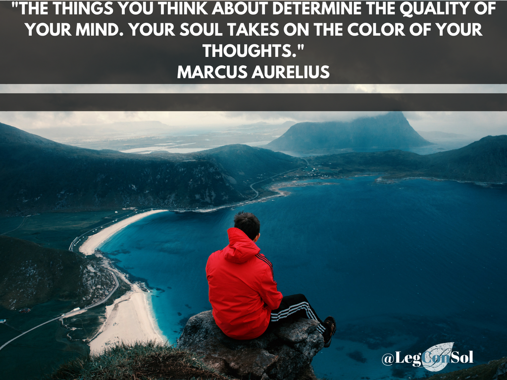 The things you think about determine the quality of your mind. Your soul takes on the color of your thoughts.~ Marcus Aurelius