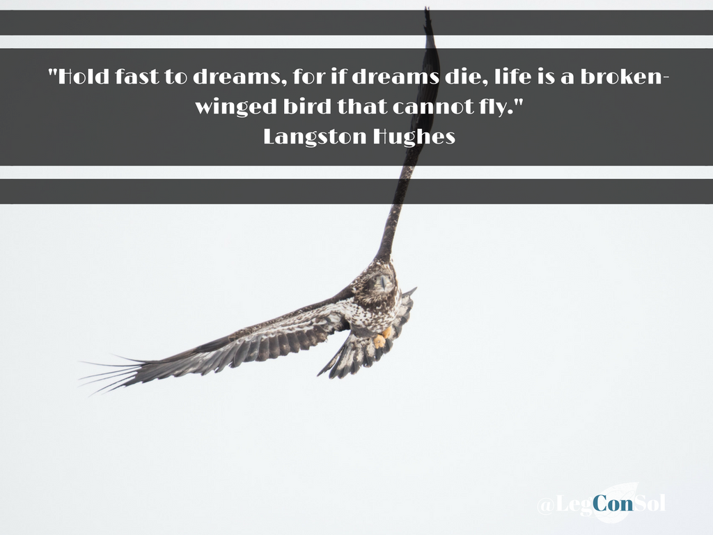 Hold fast to dreams, for if dreams die, life is a broken-winged bird that cannot fly.~ Langston Hughes