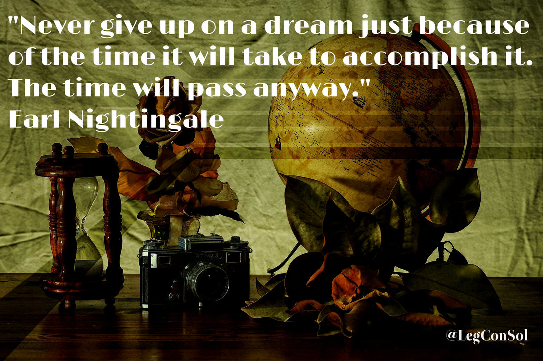 Never give up on a dream just because of the time it will take to accomplish it. The time will pass anyway.~ Earl Nightingale