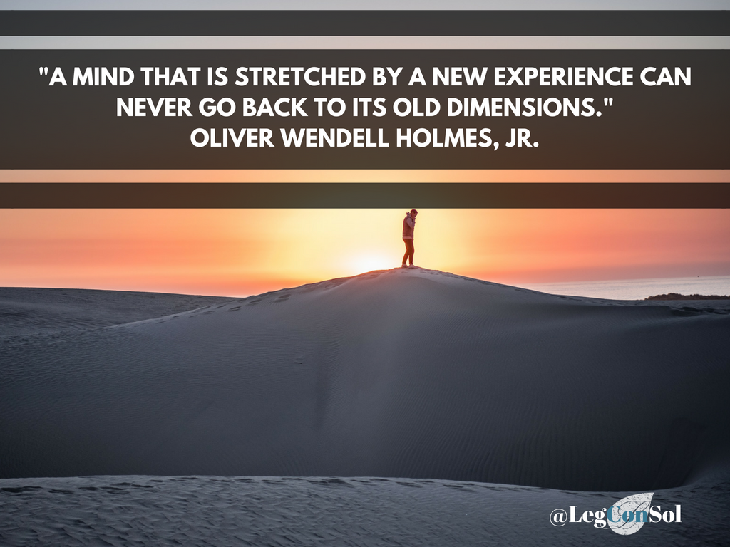 A mind that is stretched by a new experience can never go back to its old dimensions.~ Oliver Wendell Holmes, Jr.