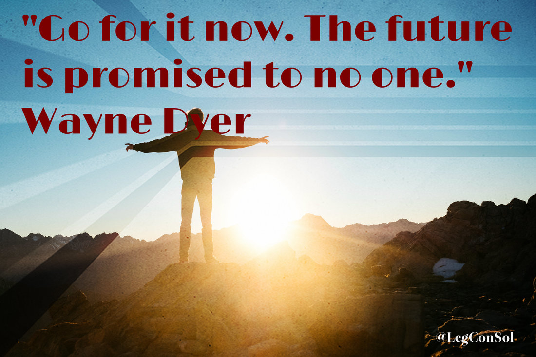 Go for it now. The future is promised to no one.~ Wayne Dyer