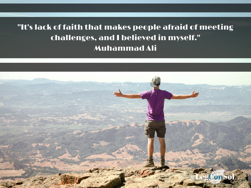 It's a lack of faith that makes people afraid of meeting challenges, and I believed in myself.~ Muhammad Ali
