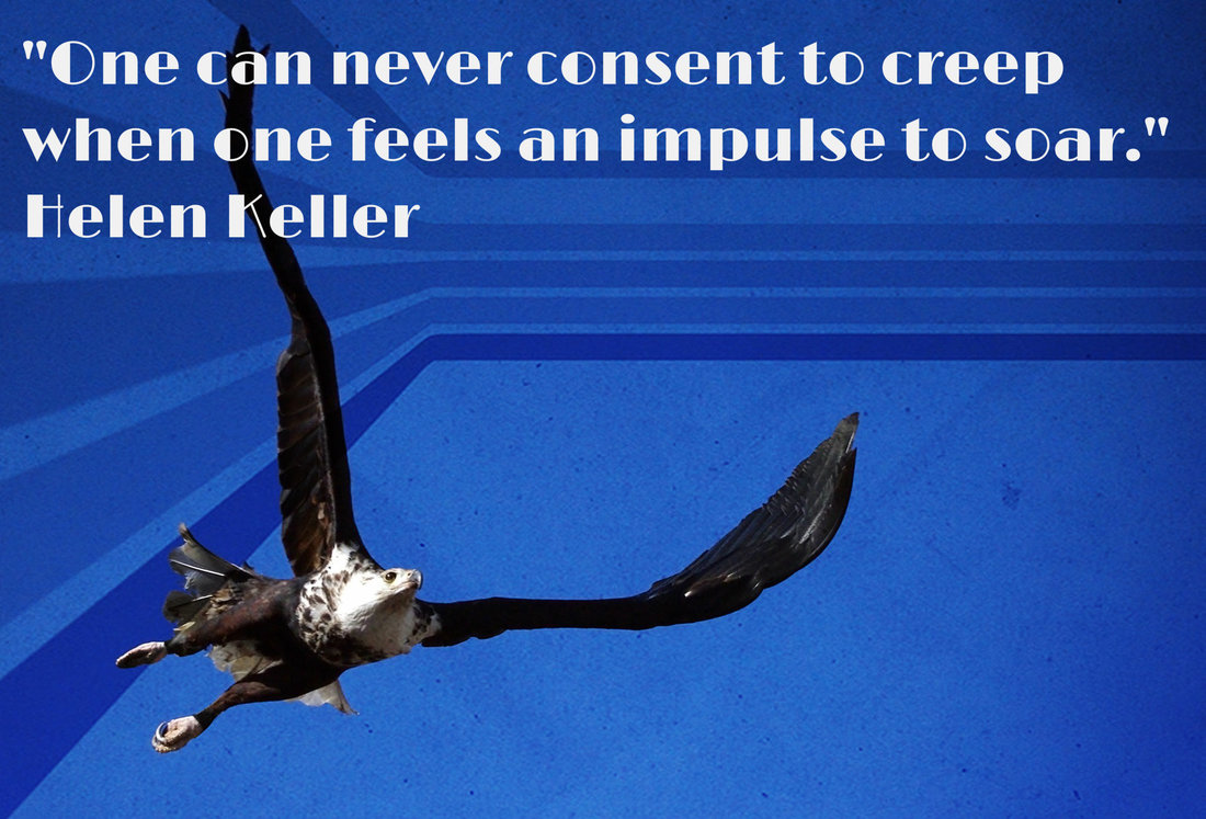 One can never consent to creep when one feels an impulse to soar.~  Helen Keller
